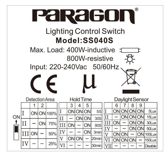 HDSD cảm biến SS040 paragon